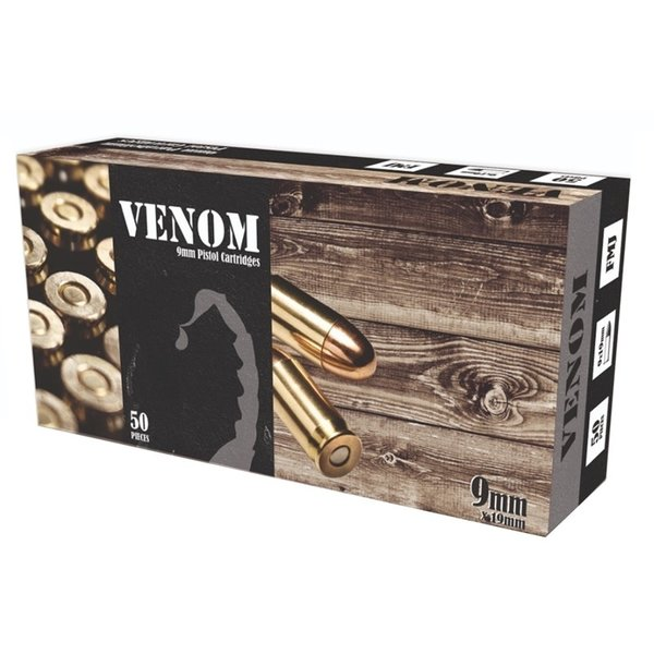 IN STORE ONLY - Venom 9mm Luger Ammo 115 Grain Full Metal - 50 rnd