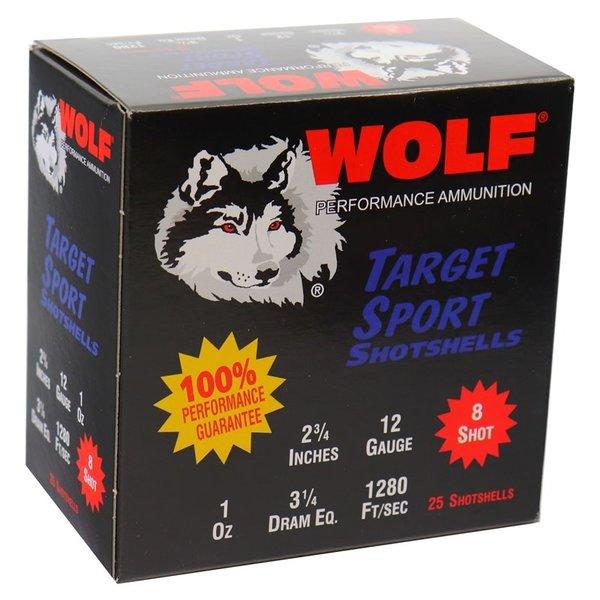 "IN STORE ONLY - Wolf Target Sports Shotshells 12 Gauge Ammo 2 3/4"" 1 oz 8 Shot - 25 rnd"