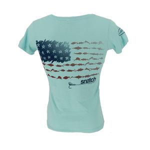 Snatch American Fish Flag T-Shirt Women's