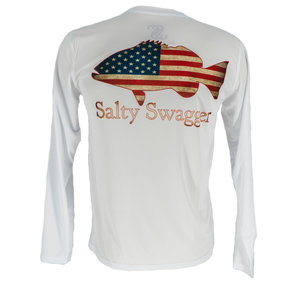 Salty Swagger Grouper Flag Fish Performance Long Sleeve Shirt