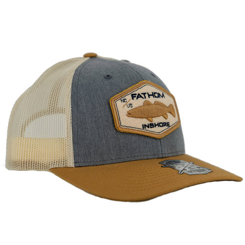 Fathom Offshore Backwater Trucker Cap Grey/Gold HA26GLD