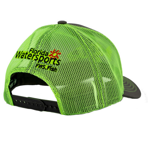 Florida Water Sports FWS Hat Lime Green and Grey