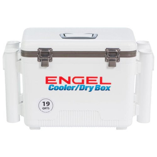 Engel 19 quart leak-proof air-tight drybox/cooler with rod holders-White