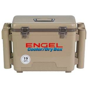Engel 19 quart leak-proof air-tight drybox/cooler with rod holders-Tan