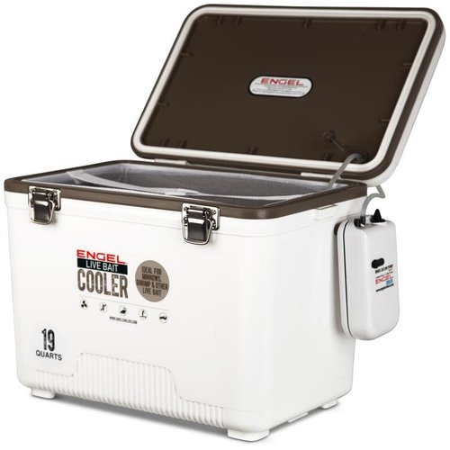 Engel 19qt Live Bait Drybox/Cooler with 2 speed aerator pump and net
