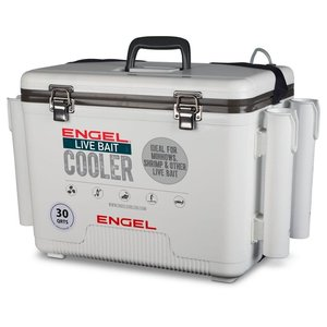 Engel 30qt Live Bait Drybox/Cooler with 2 speed aerator pump and 4 rod holders.