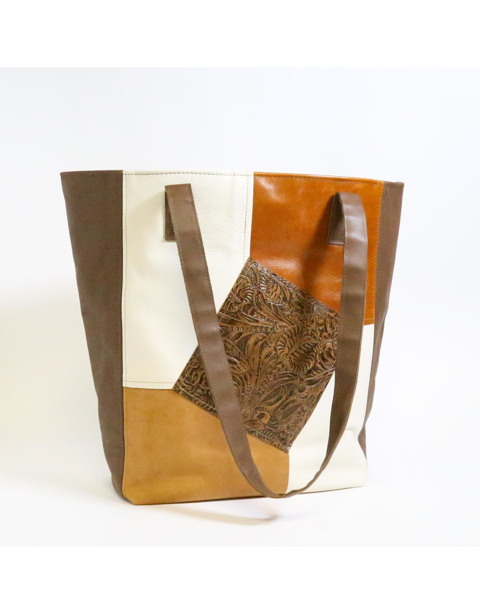Leather Patchwork Trapezio Tote