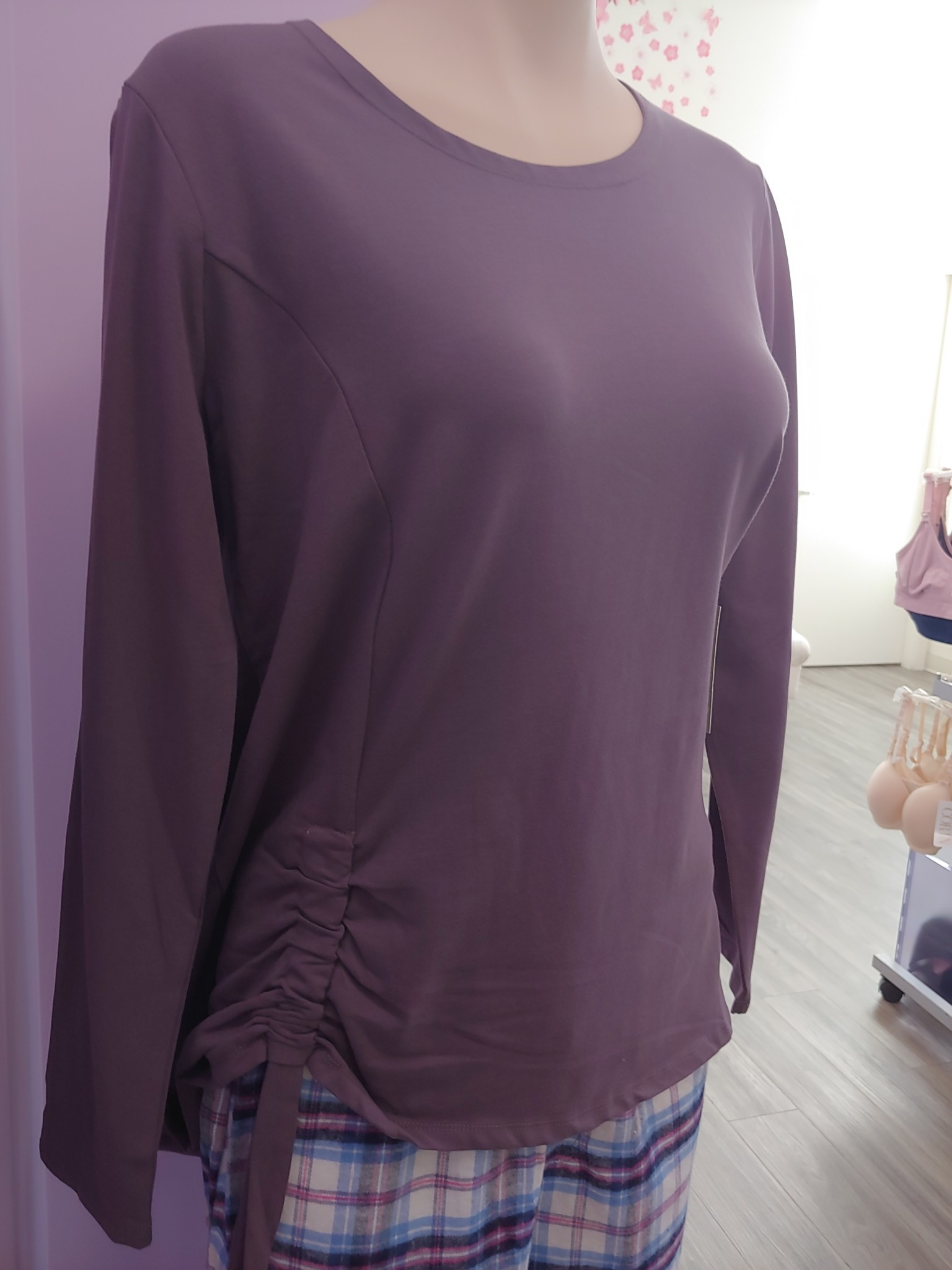 Cotton tunic with faux pull tie