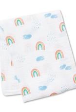 Lulujo Lulujo Muslin Swaddle Blanket - Rainbow Sky