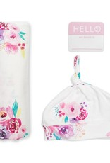 Lulujo Lulujo Hello World Swaddle Blanket & Knotted Hat Set - Posies