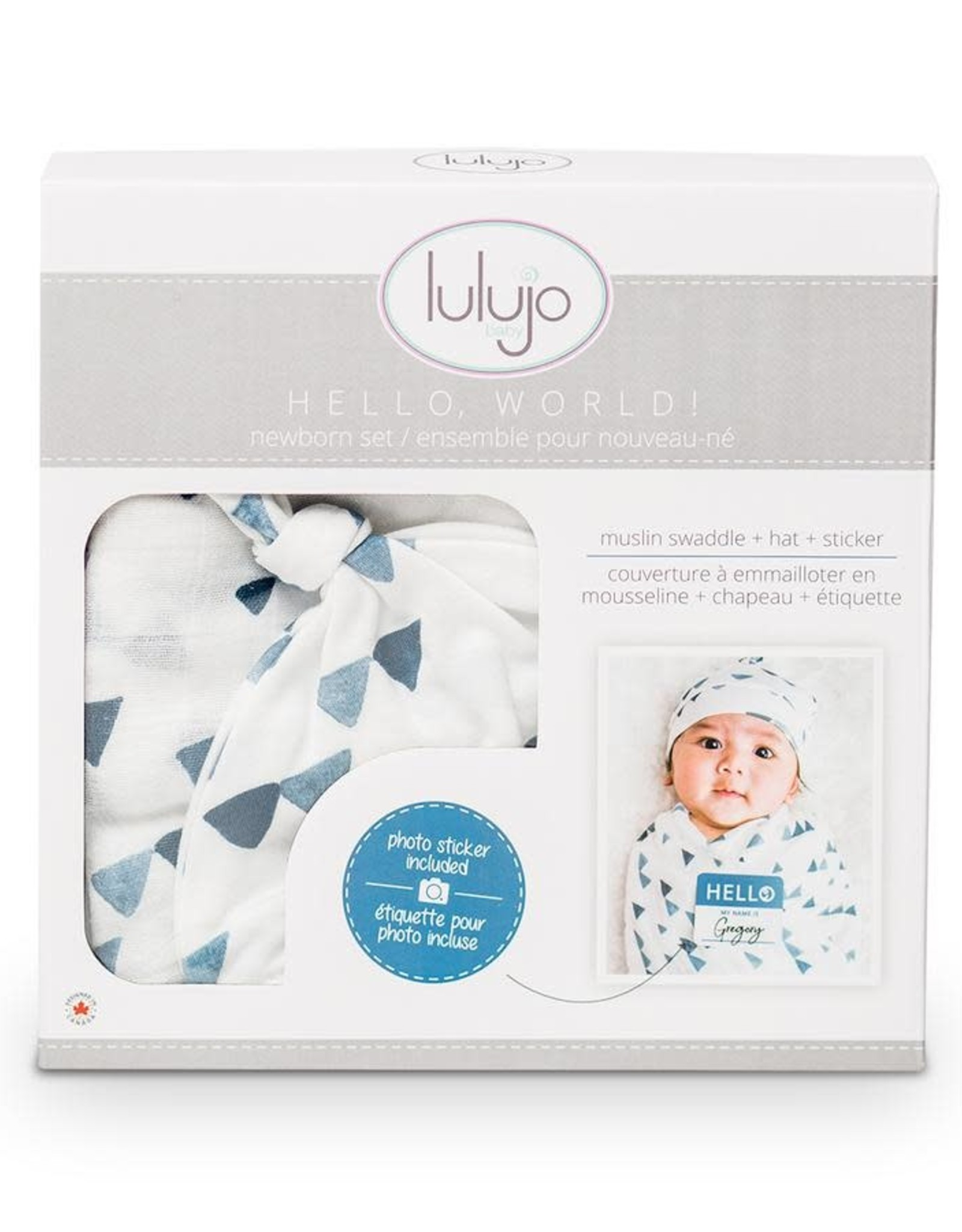 Lulujo Lulujo Hello World Swaddle Blanket & Knotted Hat Set - Navy Triangles