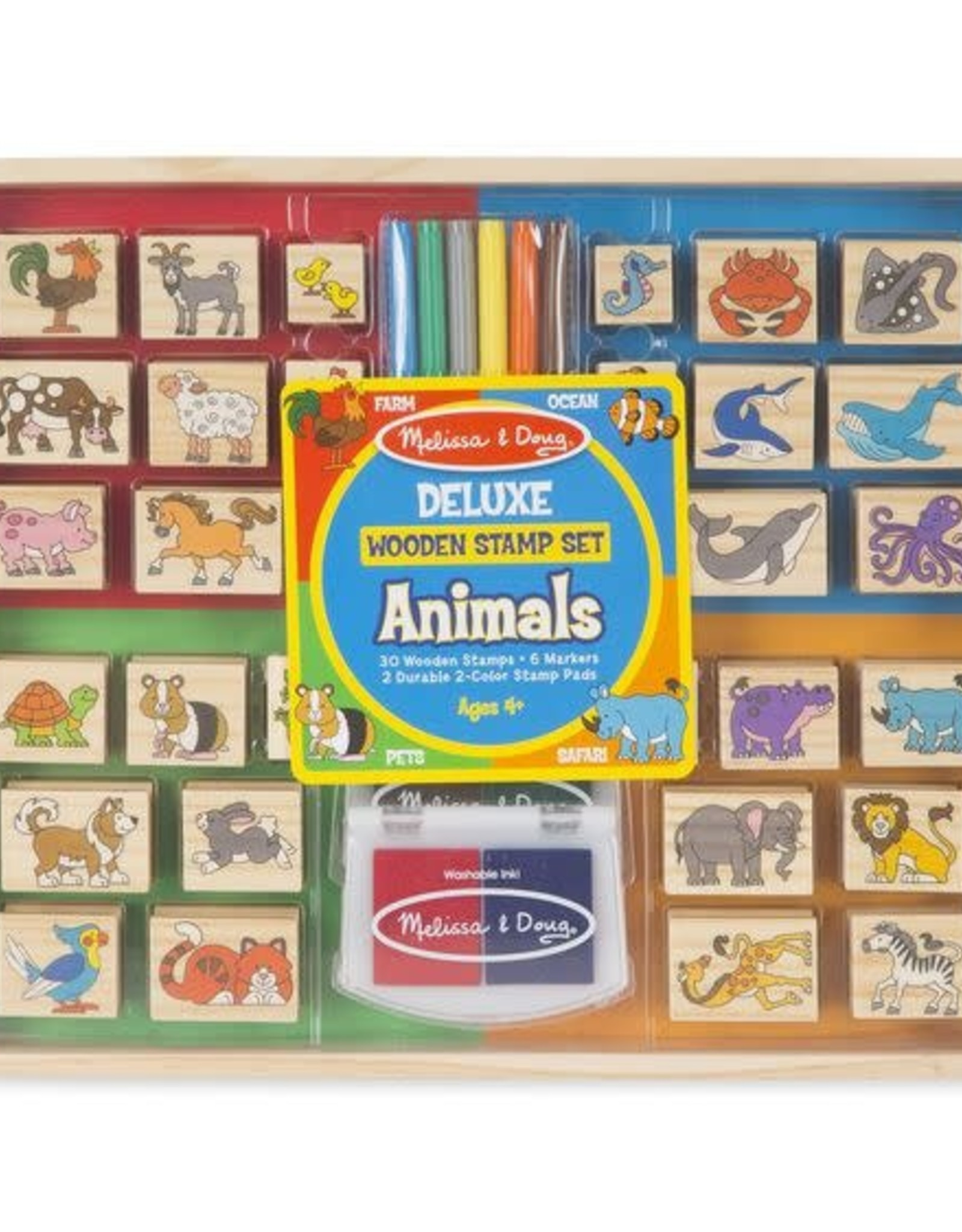 Melissa & Doug Melissa & Doug Deluxe Wooden Animal Stamp Set