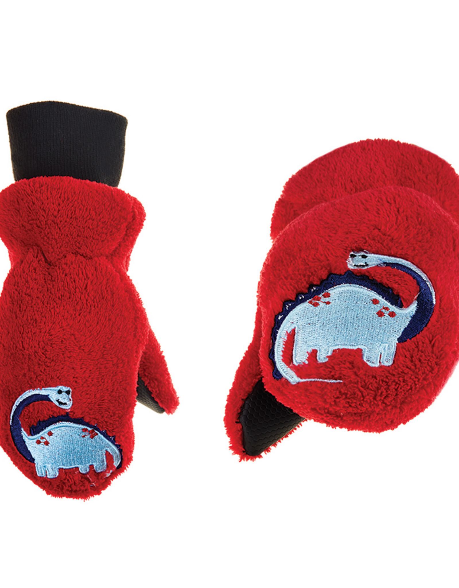 FlapJackKids FlapJackKids Fleece Mitts - Red Dinosaur
