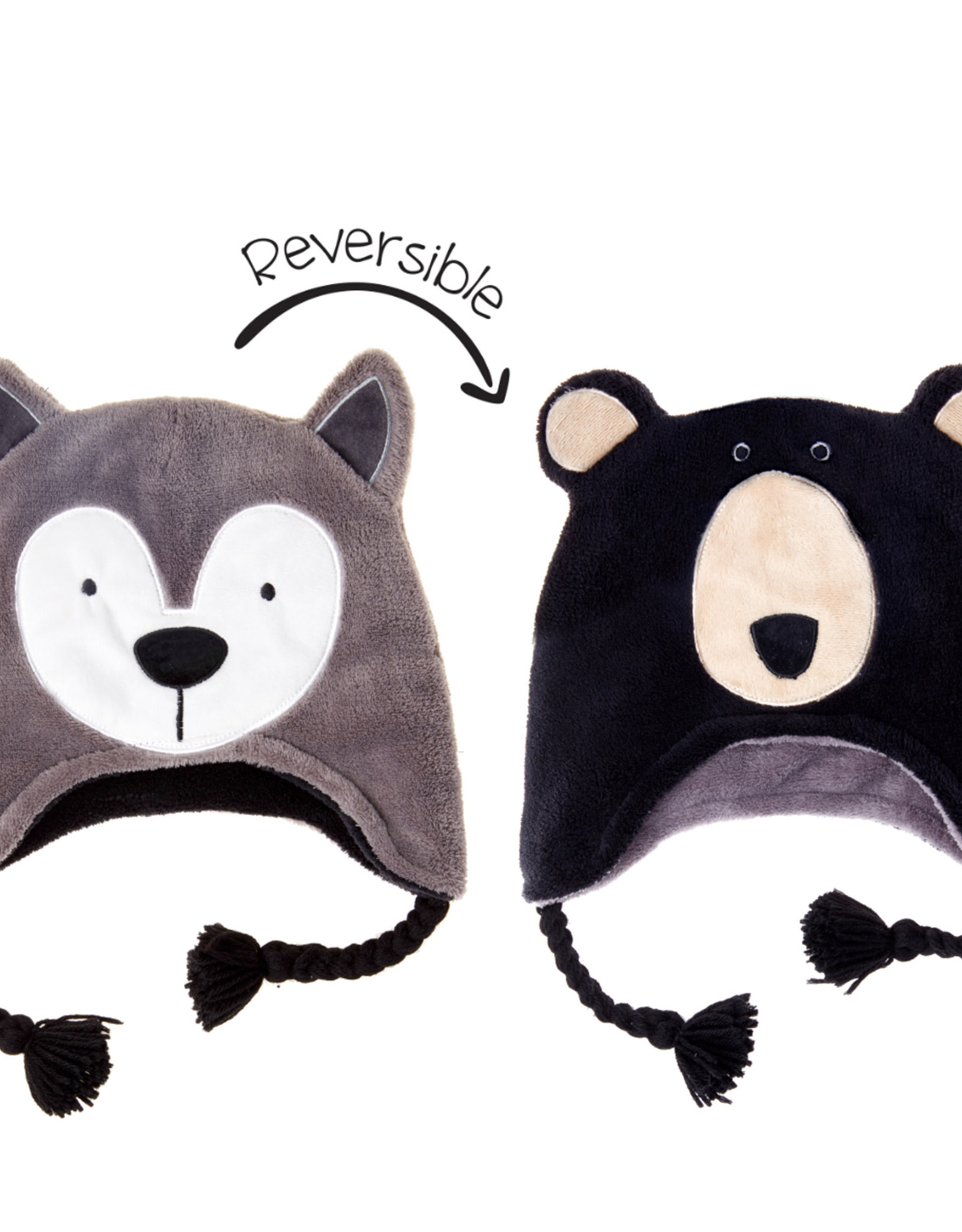 FlapJackKids FlapJackKids Reversible Fleece Hat - Wolf/Black Bear - Baby/Toddler