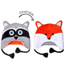 FlapJackKids FlapJackKids Reversible Fleece Hat - Raccoon/Fox - Baby/Toddler
