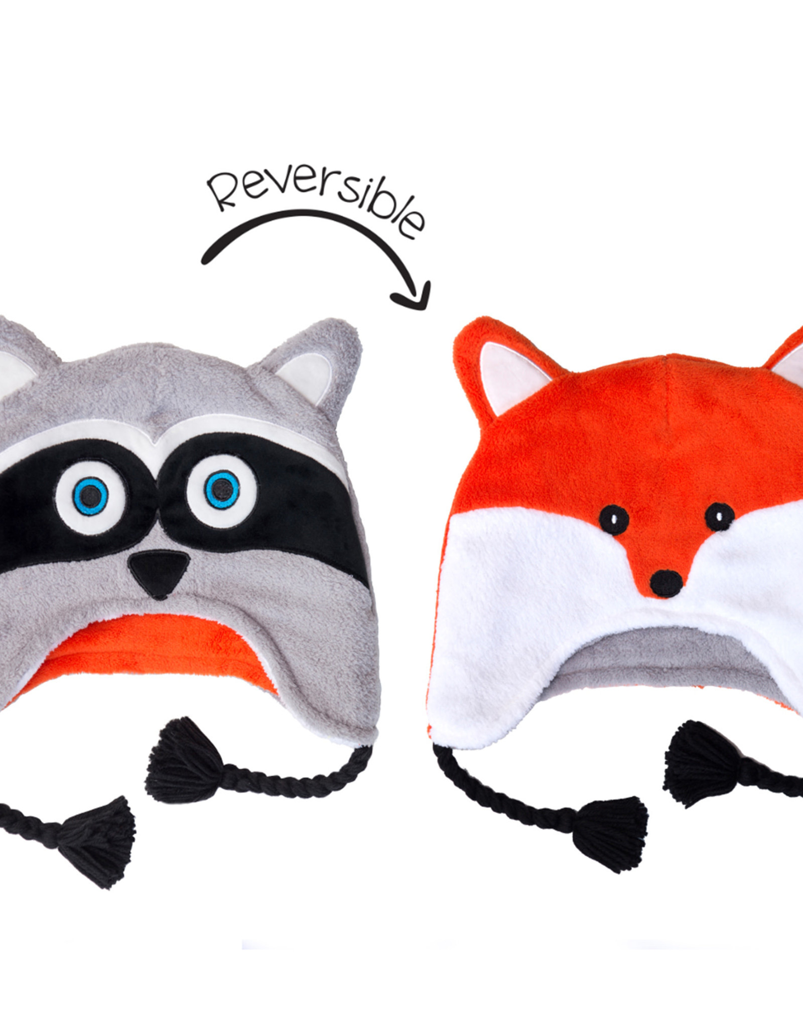 FlapJackKids FlapJackKids Reversible Fleece Hat - Raccoon/Fox - Youth 3-8