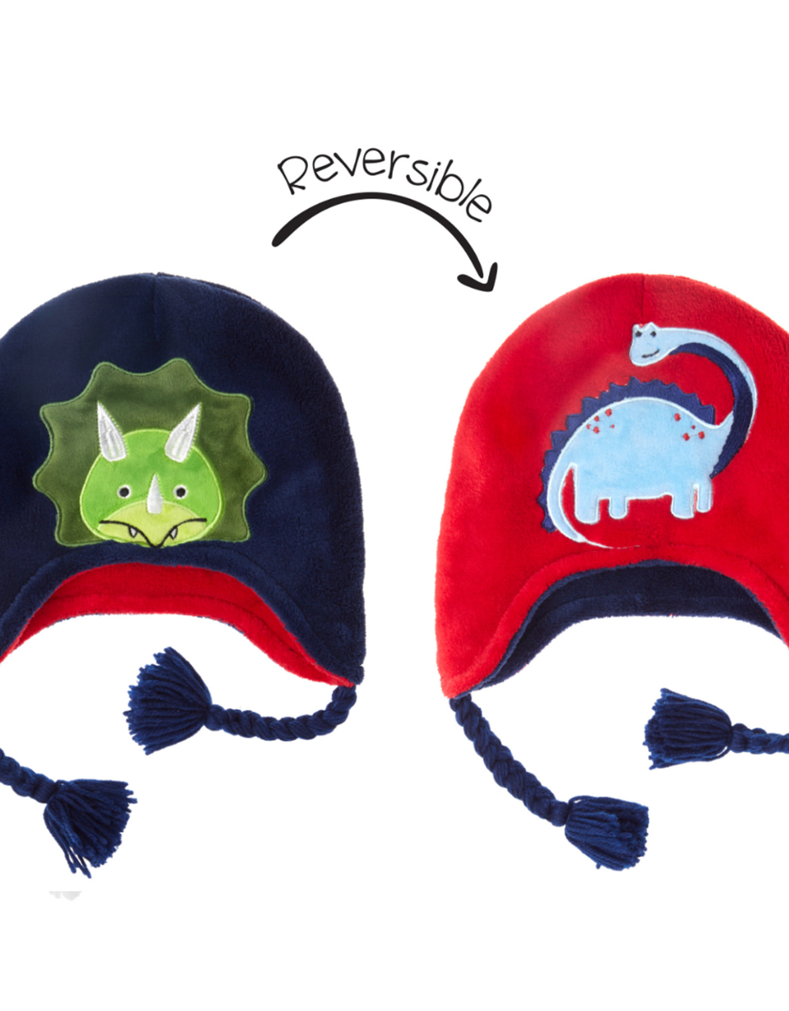 FlapJackKids FlapJackKids Reversible Fleece Hat - Dinosaur - Youth 3-8