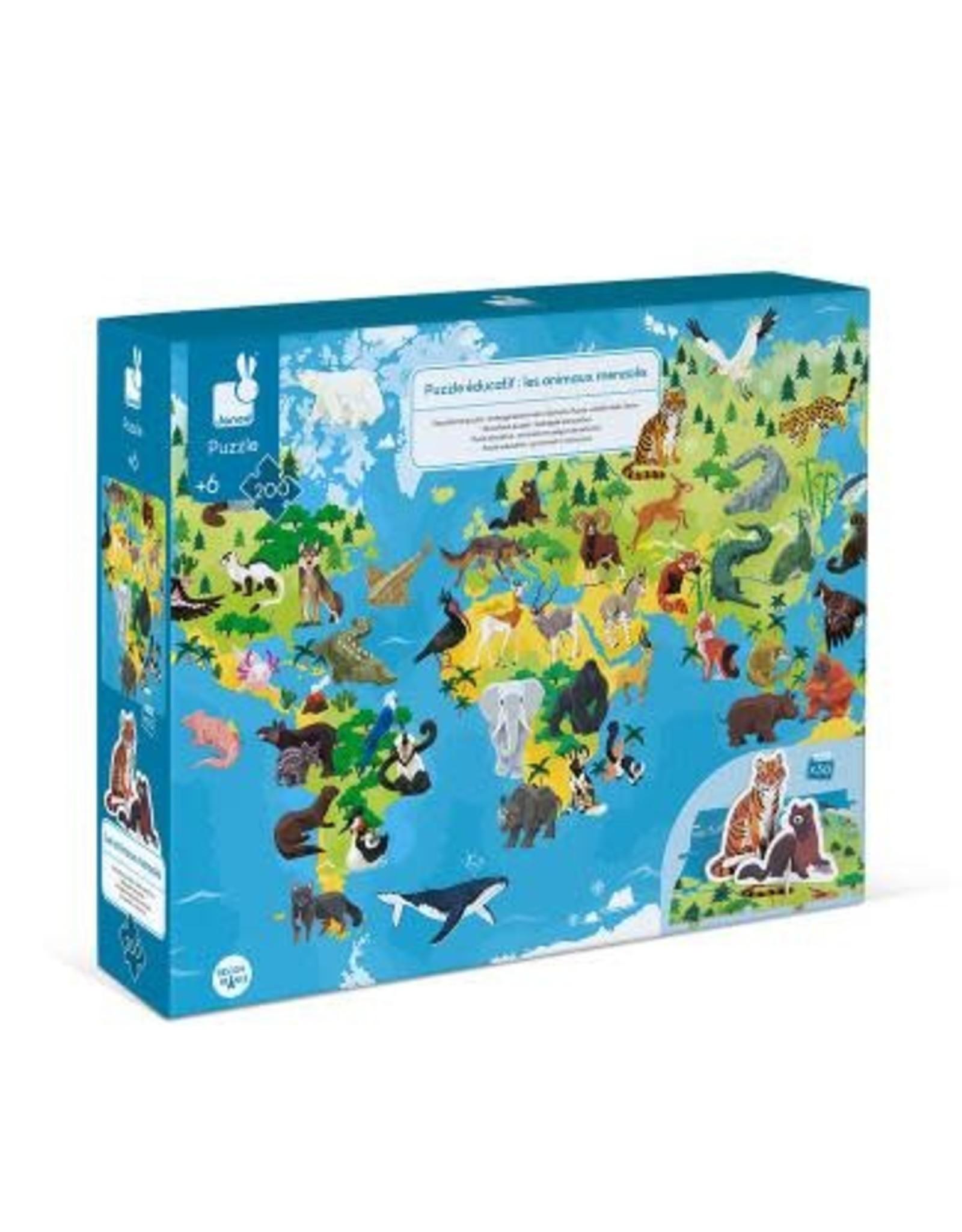 Janod Janod 3D Educational Puzzle: Endangered Animals 200pcs