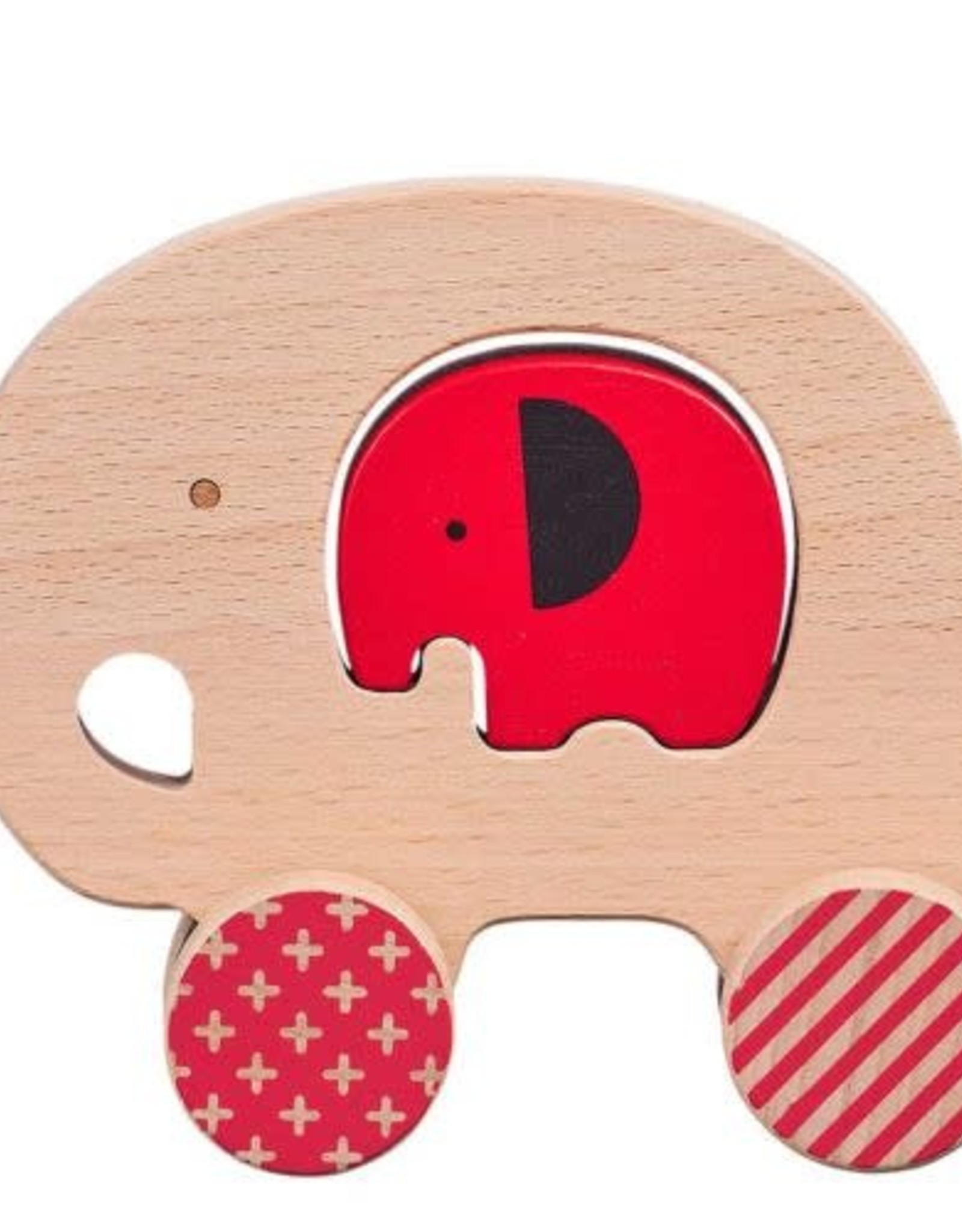 Petit Collage Wooden Push Along Little Elephant