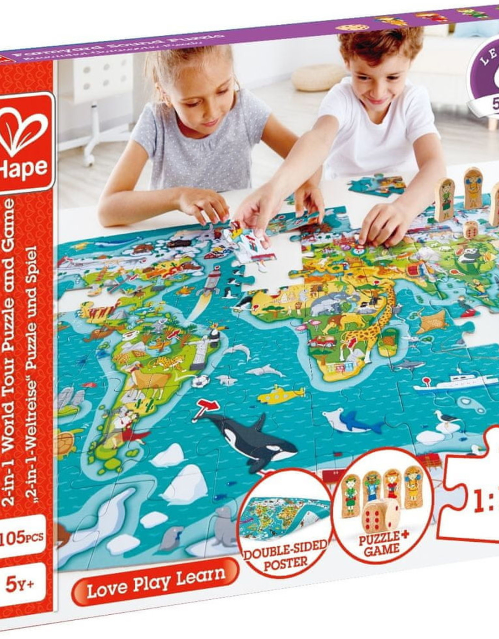 Hape Toys Hape 2-in-1 World Tour Puzzle and Game