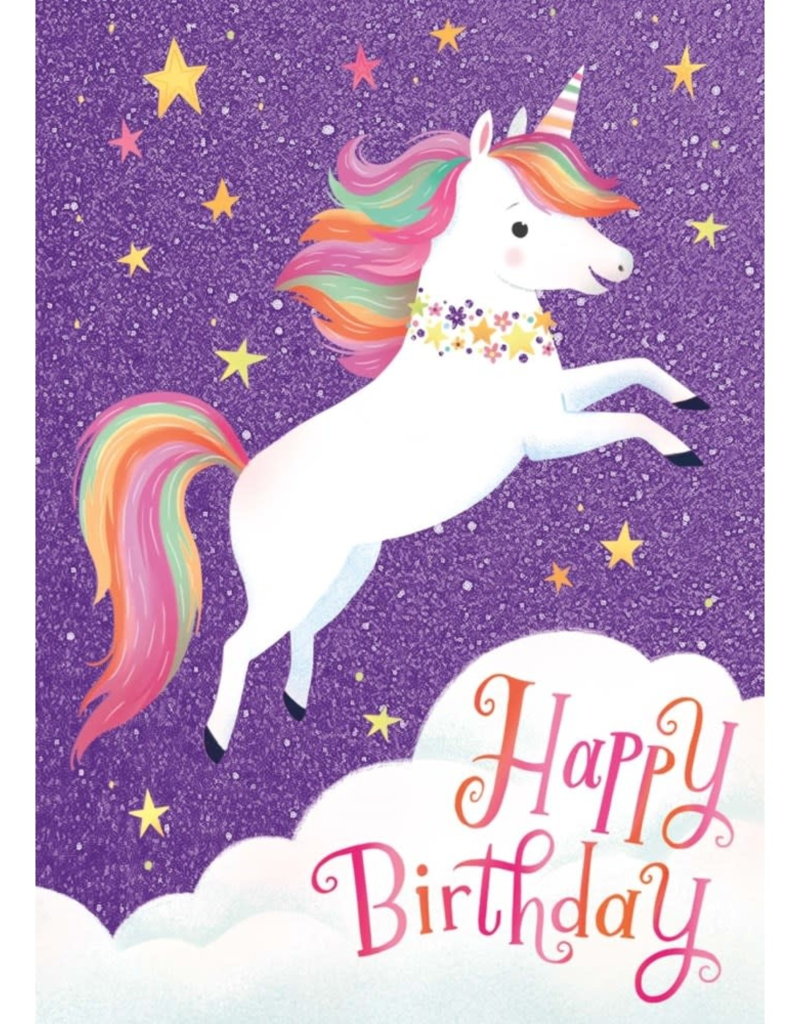 Peaceable Kingdom Flying Unicorn Glitter Card