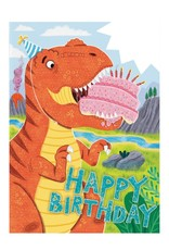 Peaceable Kingdom Dino With Cake Card