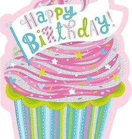 Peaceable Kingdom Cupcake Die Cut Foil Happy Birthday Card