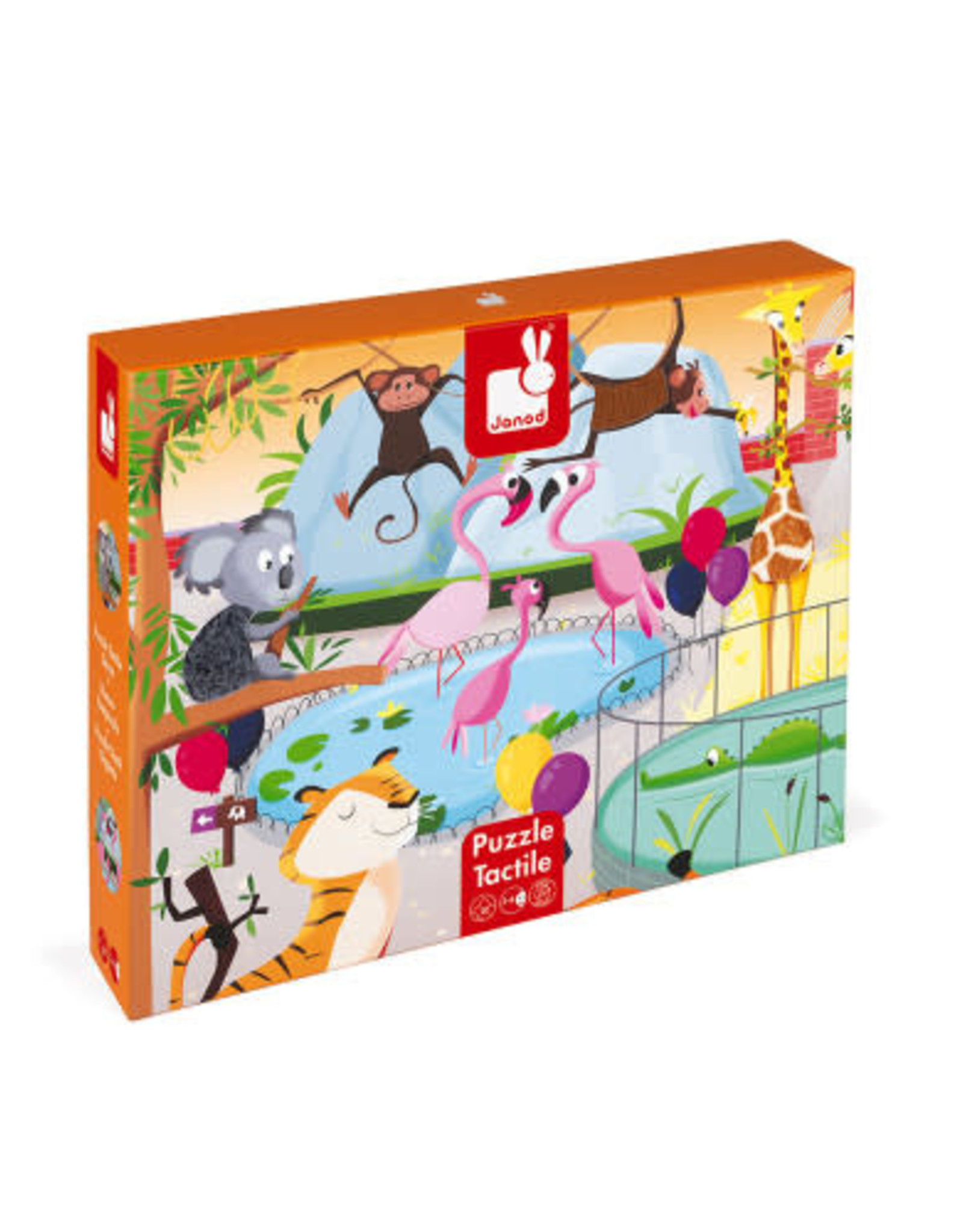Janod 20 pc Tactile Puzzle - A Day At The Zoo