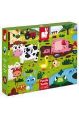 Janod 20 pc Tactile Puzzle - Farm Animals