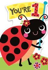 Peaceable Kingdom Age 1 Ladybug Birthday Card