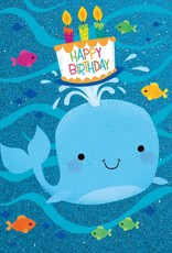 Peaceable Kingdom Whale With Cake Glitter Birthday Card