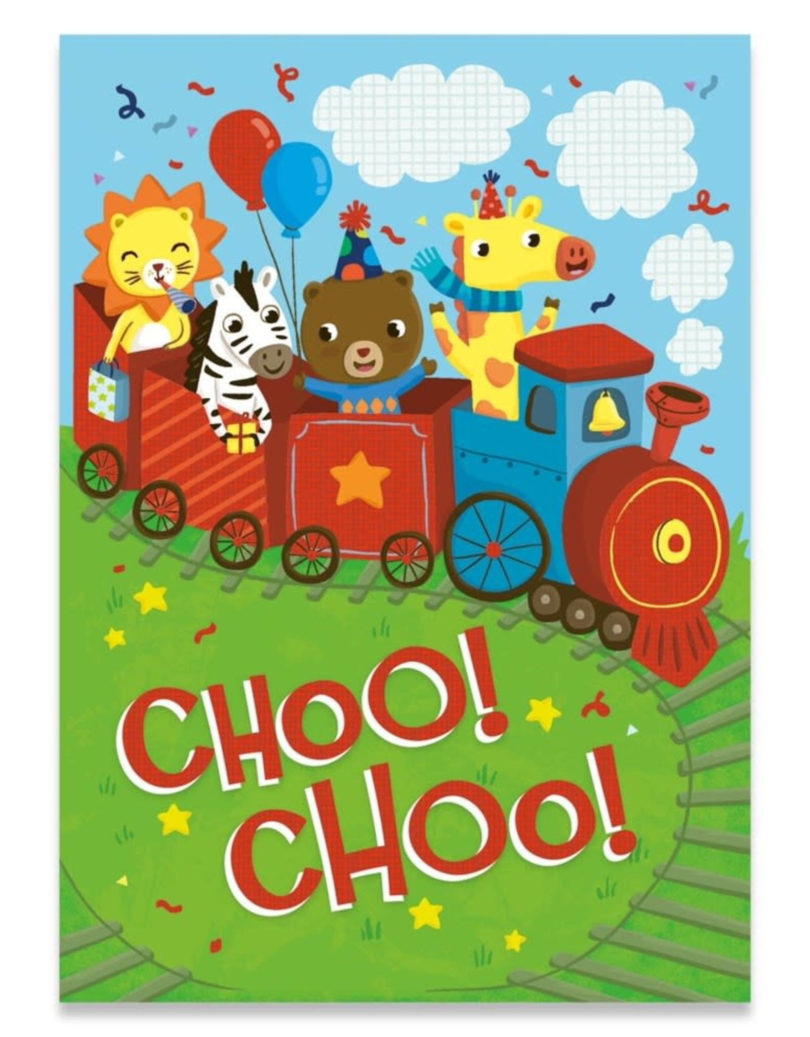 Peaceable Kingdom Choo Choo Train Birthday Card
