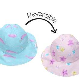 FlapJackKids Kids Reversible Sun Hat - Narwhal/Starfish - Medium (2-4 years)