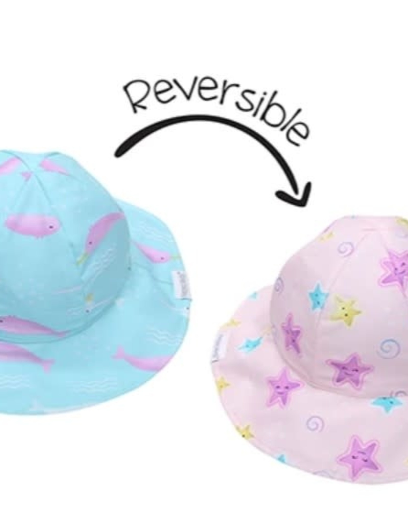 FlapJackKids Kids Reversible Sun Hat - Narwhal/Starfish - Small (6mths - 2 yrs)