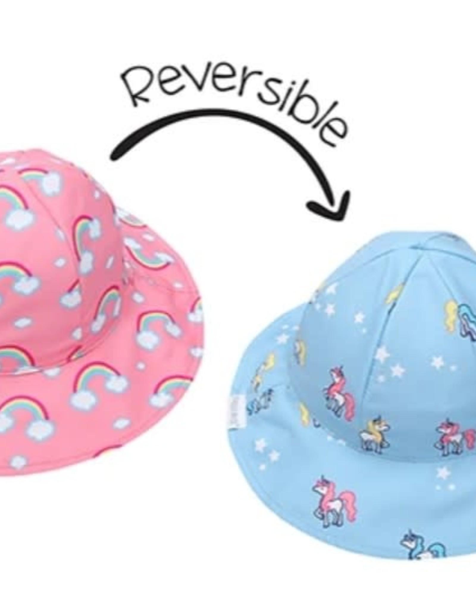 FlapJackKids Kids Reversible Sun Hat - Rainbow/Unicorn - Small (6mths - 2 yrs)