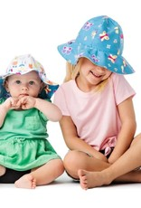 FlapJackKids Kids Reversible Sun Hat - Butterfly/Floral - Small (Age 6 months - 2 years)
