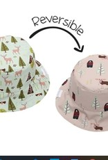 FlapJackKids Kids Reversible Sun Hat - Moose/Cottage - Small (6 mths - 2 yrs)