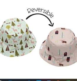 FlapJackKids Kids Reversible Sun Hat - Moose/Cottage - Medium (age 2-4 years)