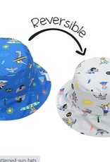 FlapJackKids Kids Reversible Sun Hat - Dinos - Medium (age 2-4 years)