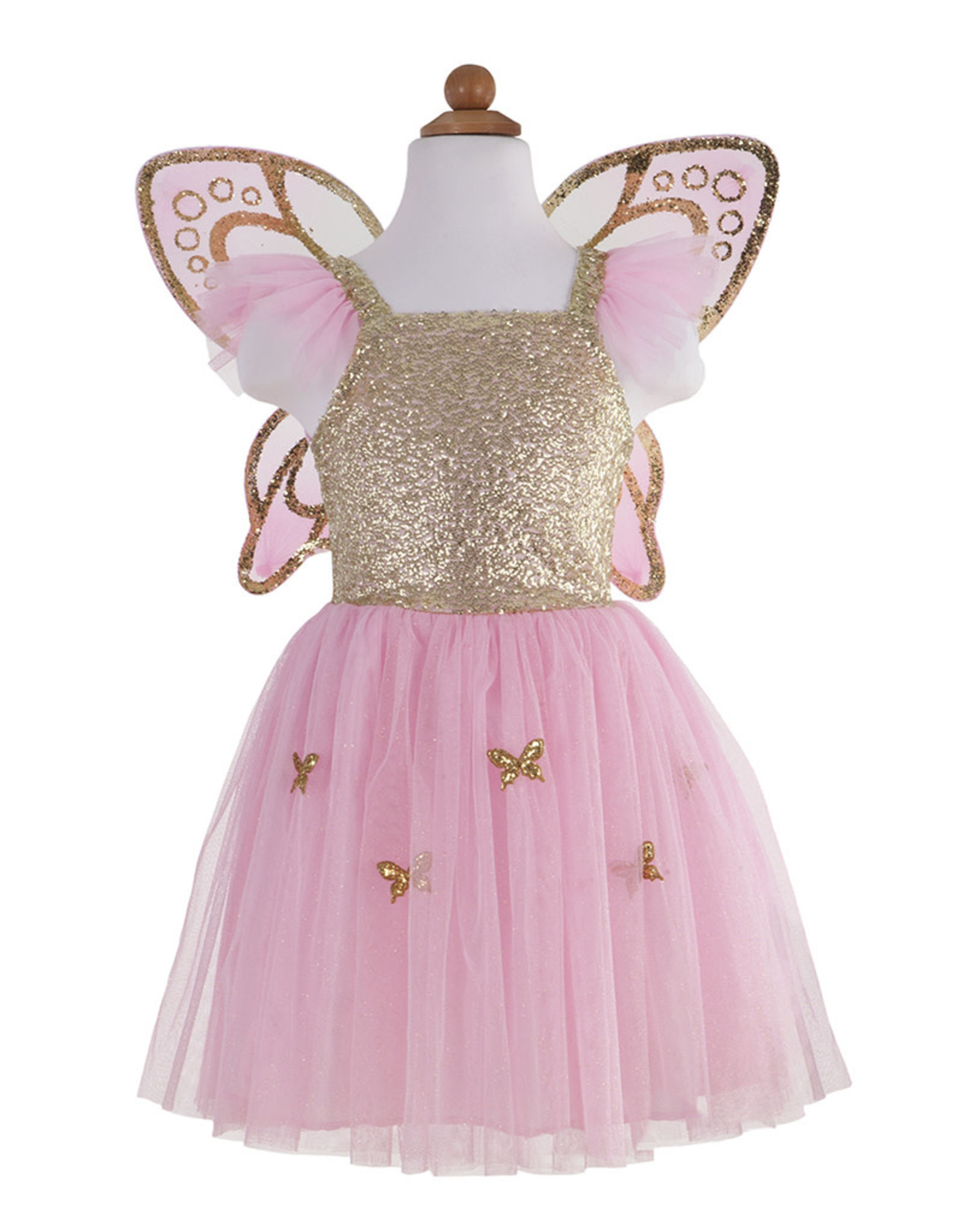 Great Pretenders Gold Butterfly Dress with Wings, Size 5-6