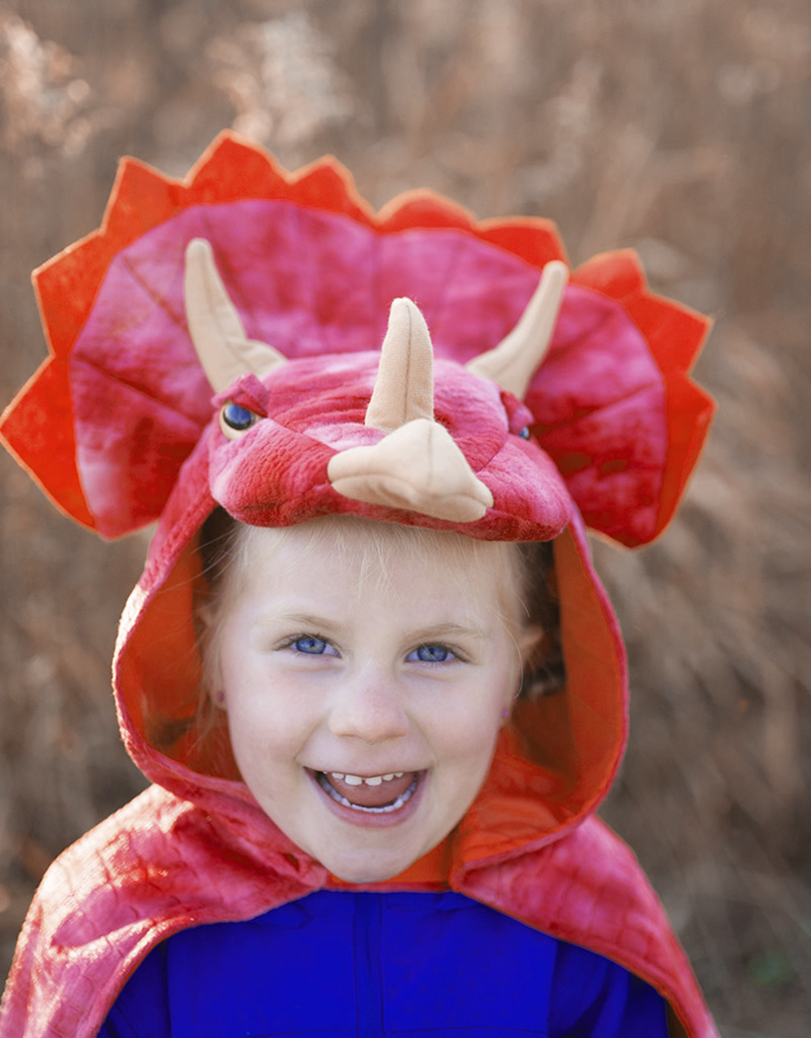 Great Pretenders Triceratops Hooded Cape, Red, Size 4-5
