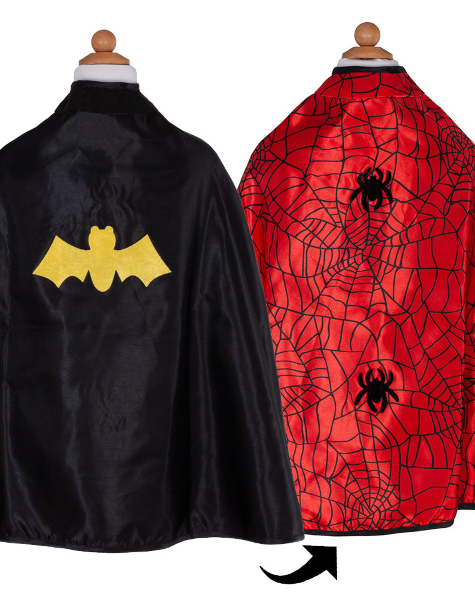 Great Pretenders Reversible Spider/Bat Cape & Mask, Size 3-4