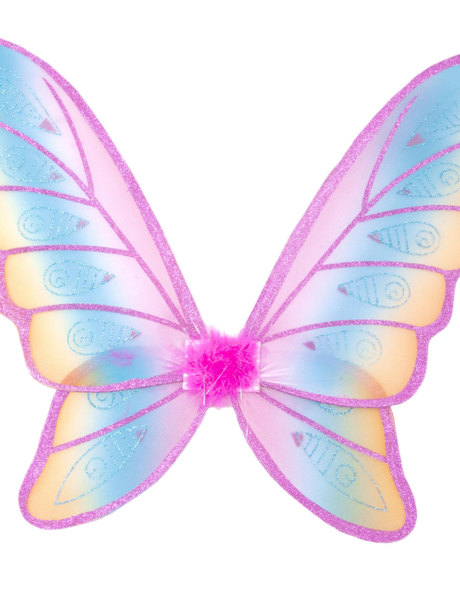 Great Pretenders Glitter Rainbow Wings, Fuscia