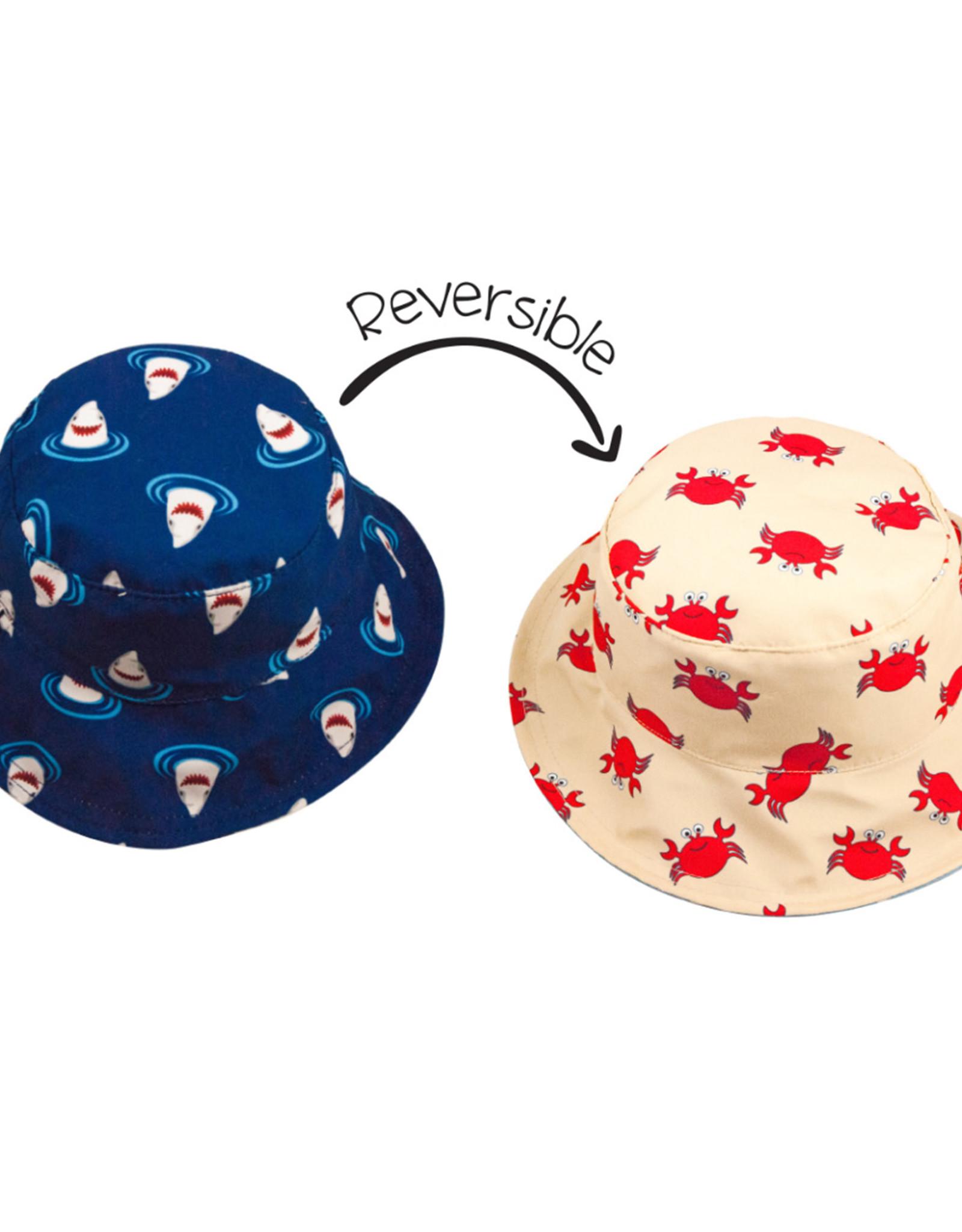 FlapJackKids Kids Reversible Sun Hat - Crab / Shark - Small