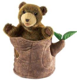 Folkmanis Folkmanis Bear In Tree Stump Puppet
