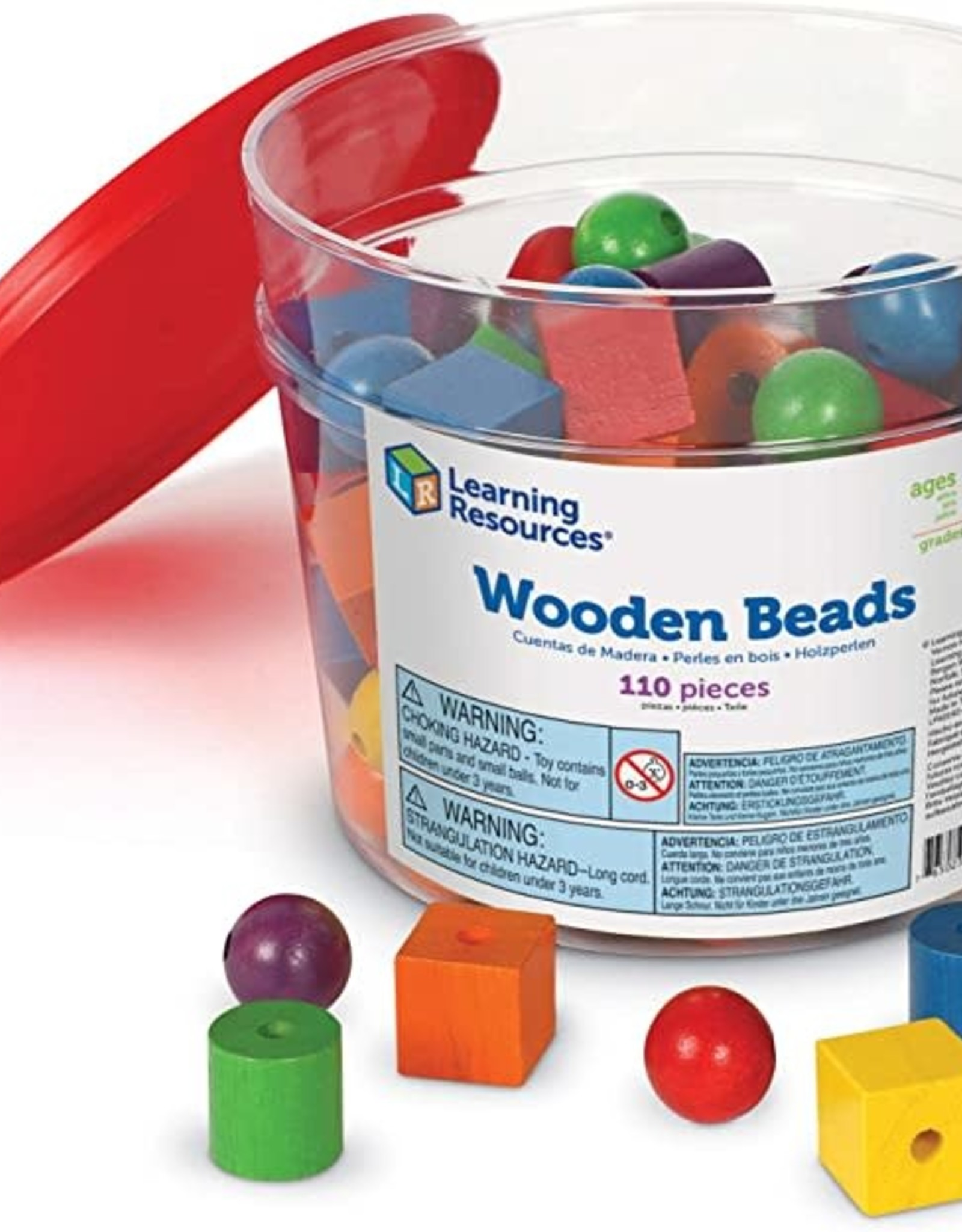 Learning Resources Wooden Beads in a Bucket