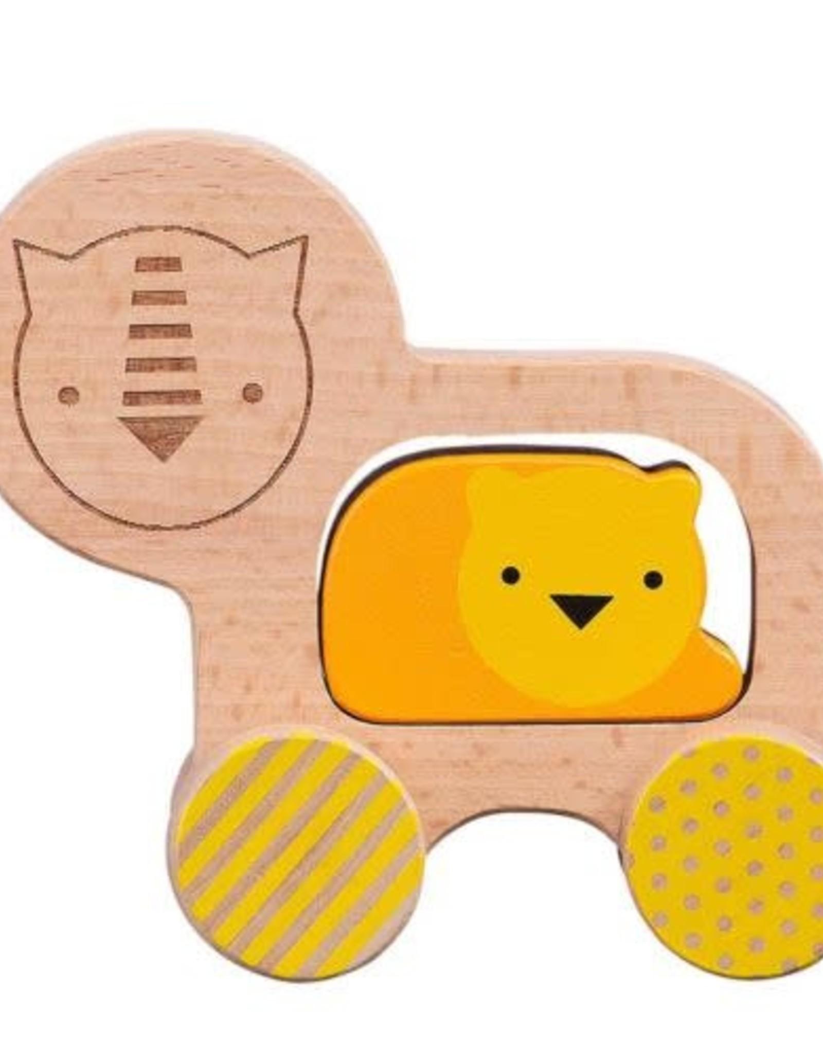 Petit Collage Wooden Push Along Lion