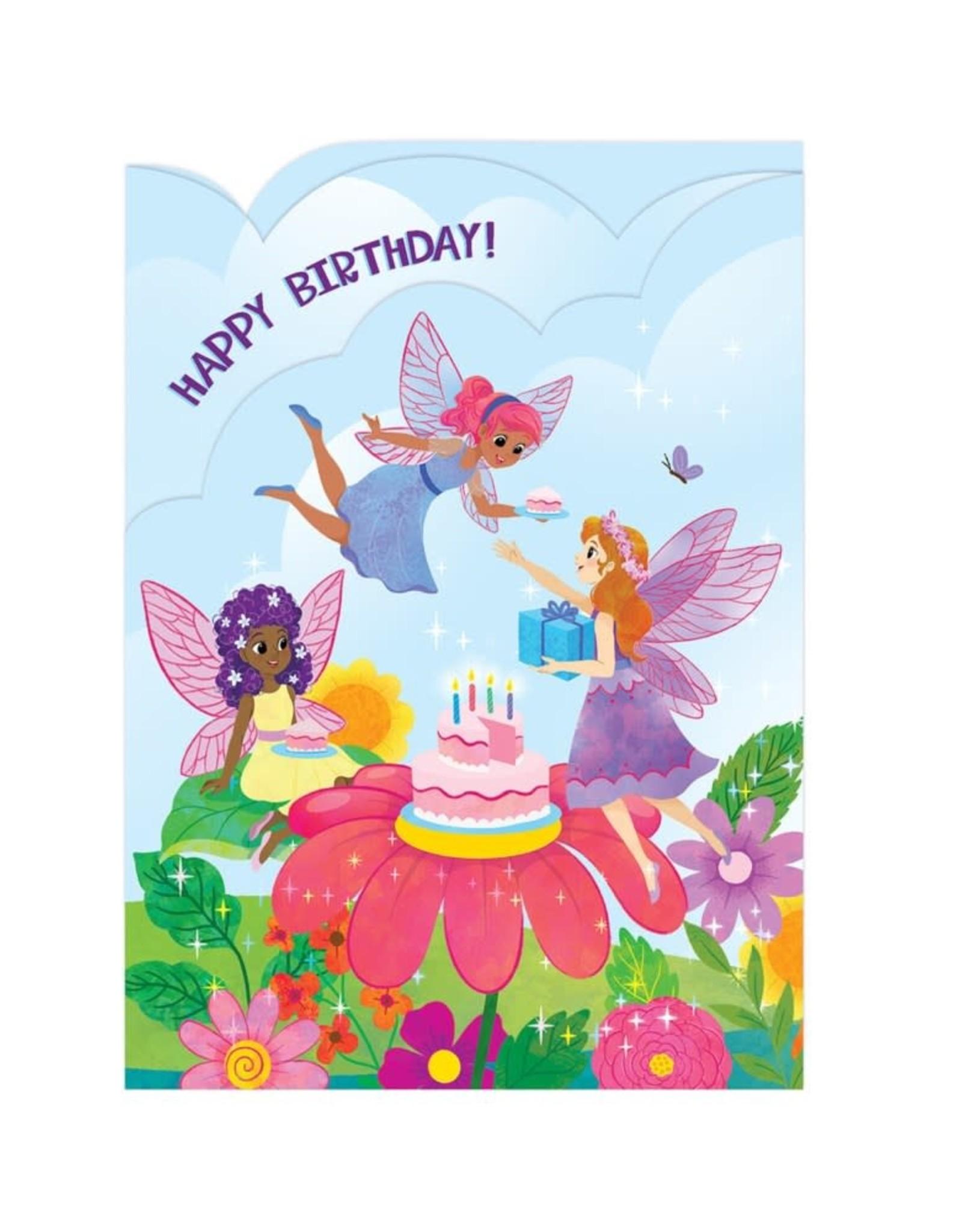 Peaceable Kingdom Fairy Garden Tri-Fold Birthday Card