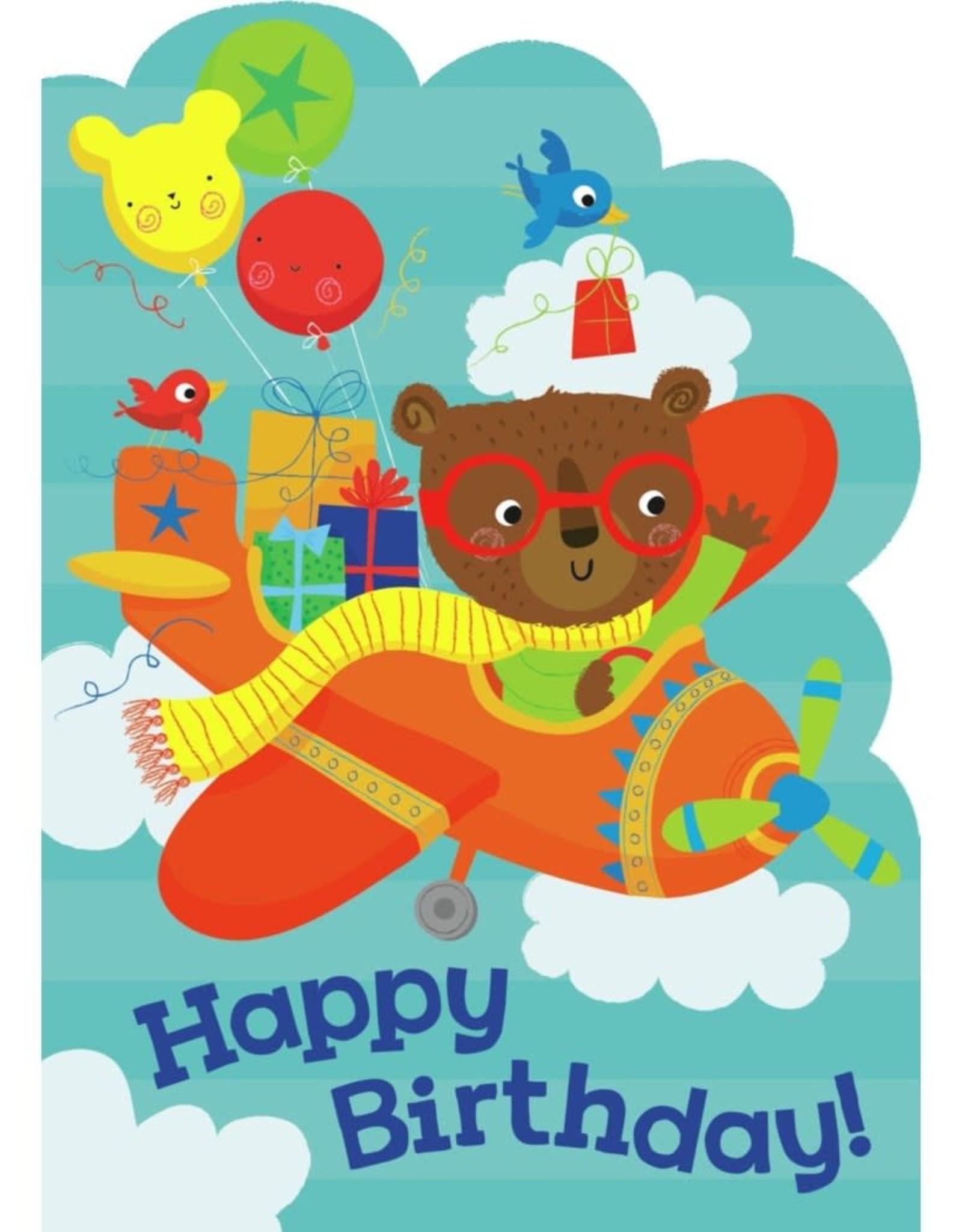 Peaceable Kingdom Bear in Airplane Die Cut Card