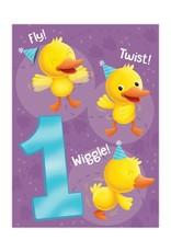 Peaceable Kingdom Duck 1 Year Birthday Card
